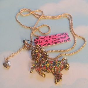 NWT Betsey Johnson Golden Rainbow Pony Necklace